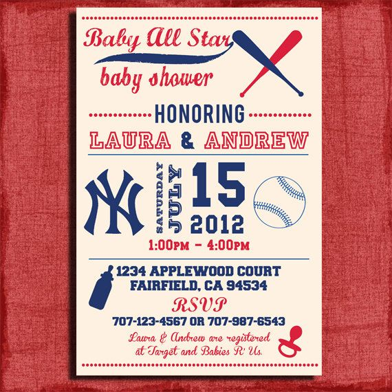 Printable Yankees Baseball Themed Baby Shower 4x6 Or 5x7