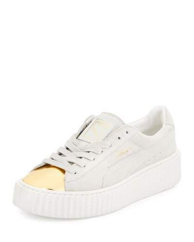 X3BYF Puma Basket Suede Cap-Toe Creeper, Gold/Star White