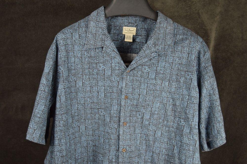 LL BEAN mens XXL 2XL blue black SS button shirt mayan aztec cotton FREE SHIPPING #LLBean #ButtonFront