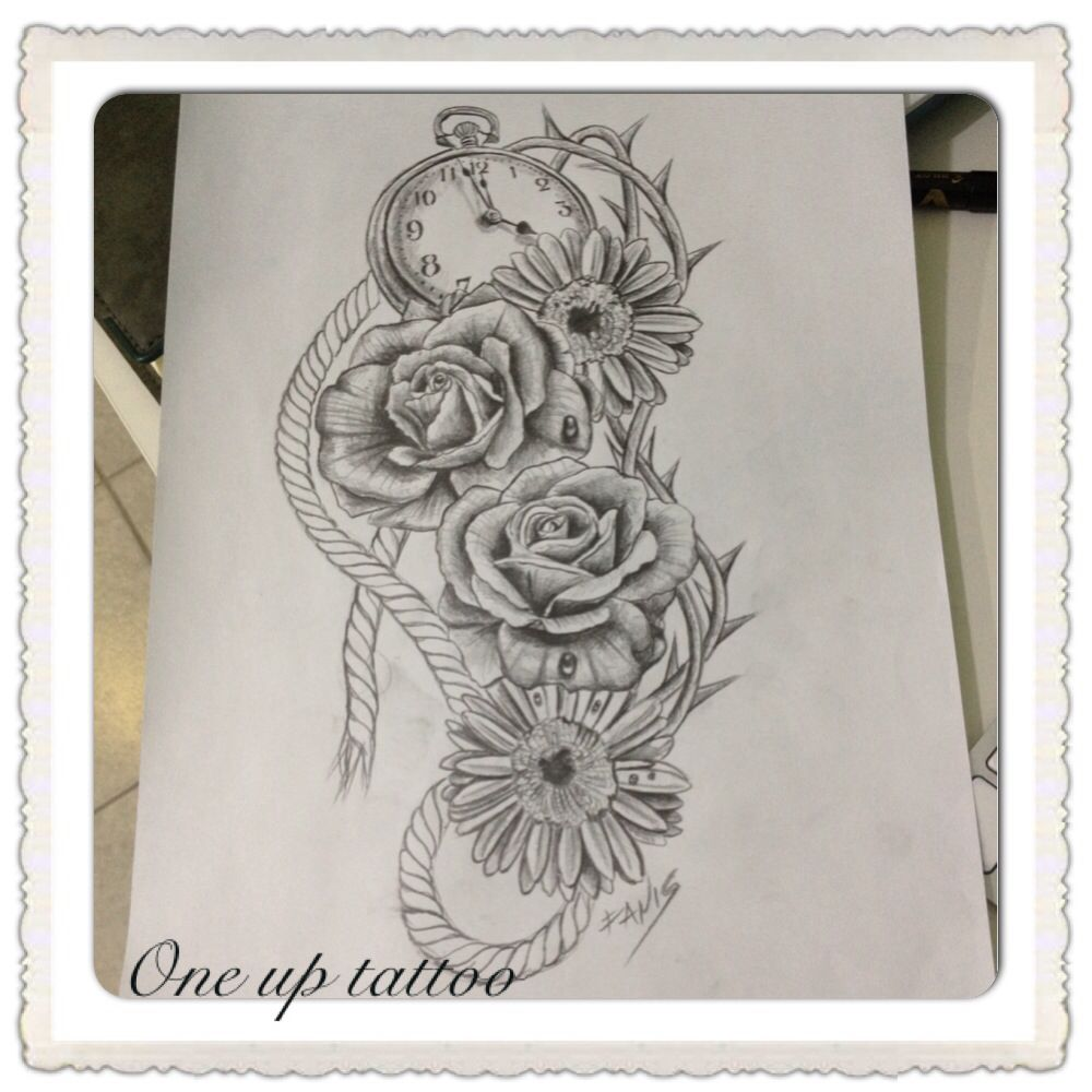 Rose And Daisy Tattoo Stencil: Daisy Roses Rope Tattoo Sketch OneUpTattoo Clock