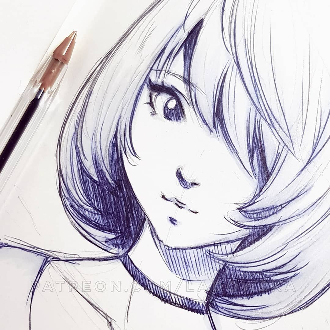 Ballpoint Pen Doodle Patreon Com Ladowska Anime