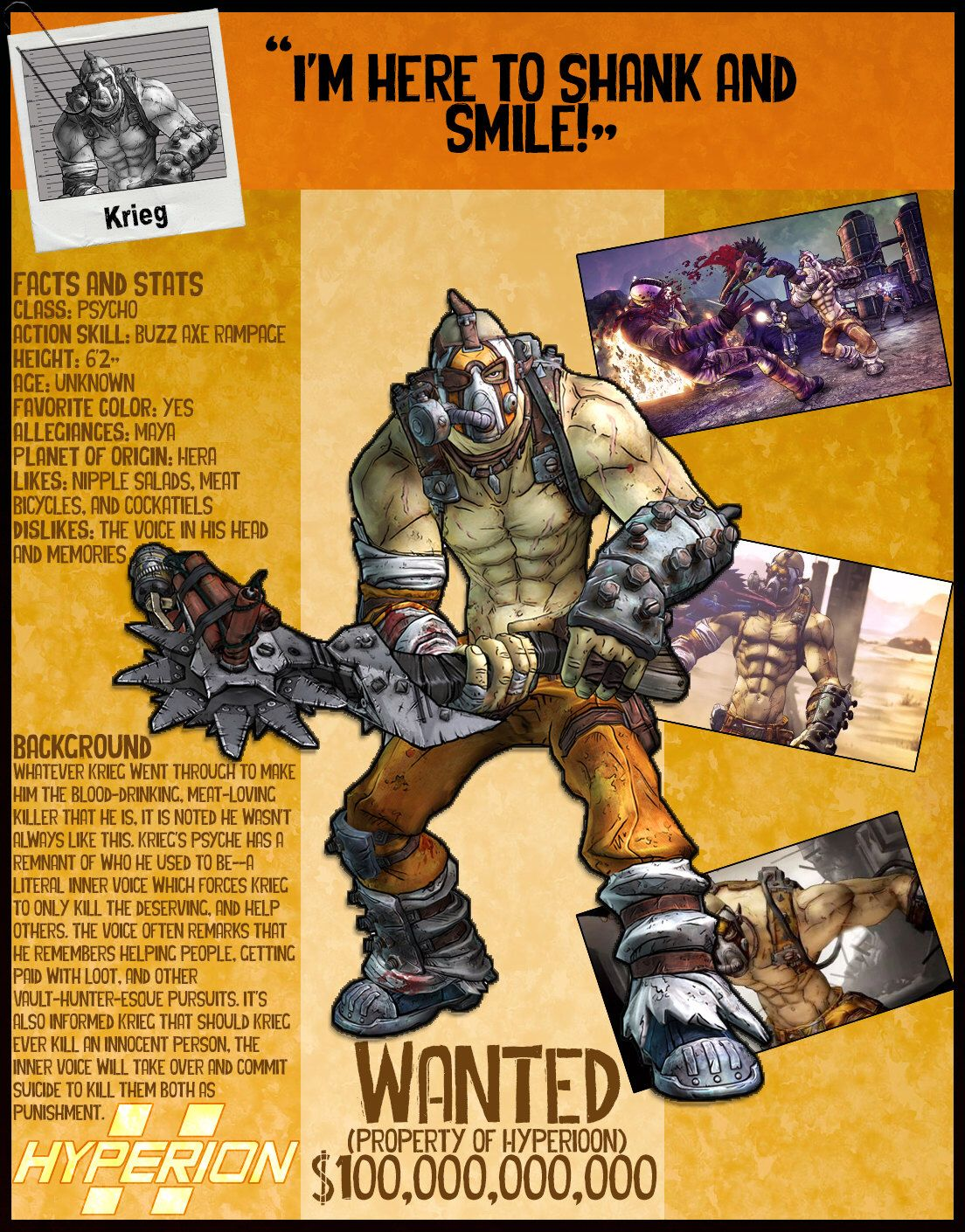 borderlands 2 wanted posters krieg by