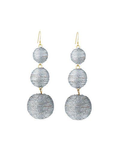Kenneth Jay Lane Threaded Triple-Drop Ball Earrings, Gray