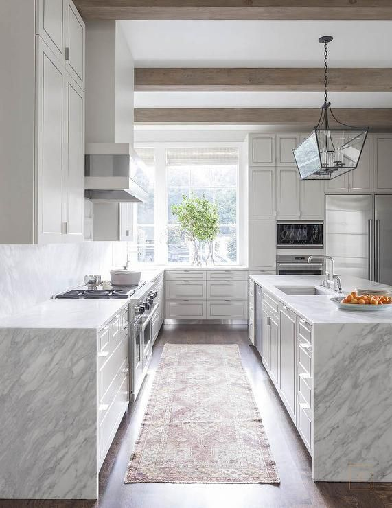 Contemporary White And Grey Kitchen Features Gray Wash