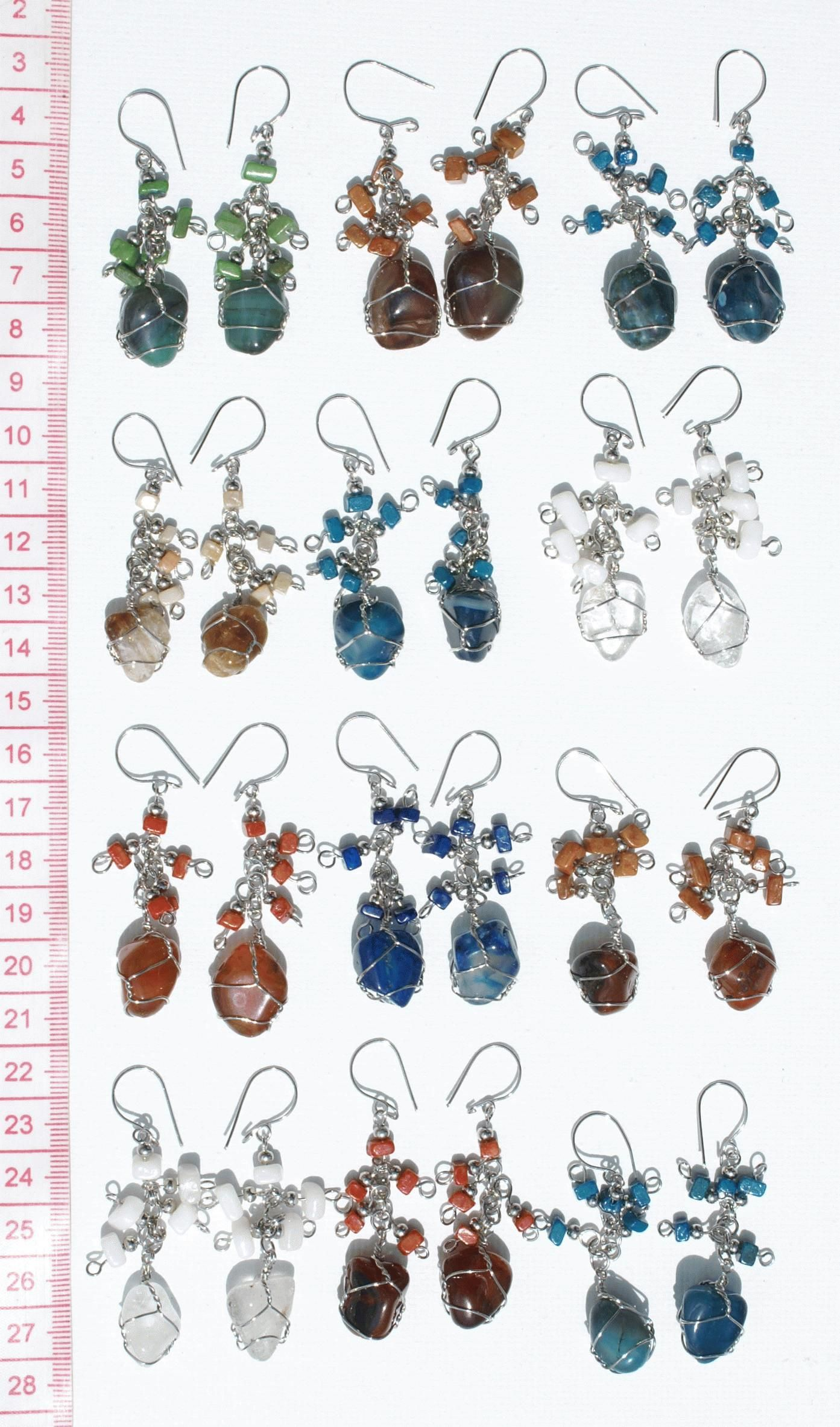 Lot 10 Pairs Peruvian Natural Piedra Stones Earrings South American Jewelry Peru