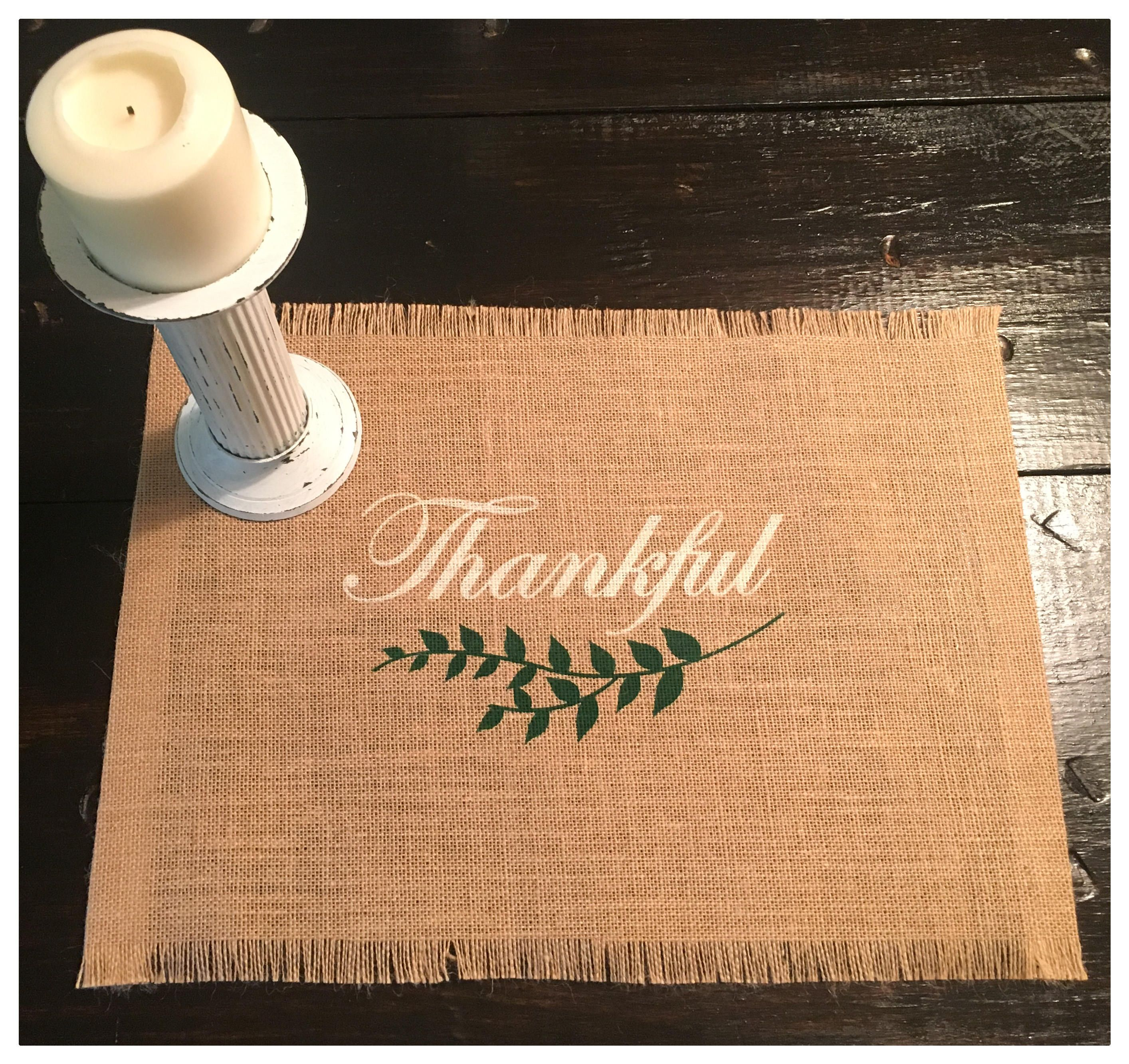 Burlap Placemats Set Of 4 6 Or 8 With Thankful Holiday Etsy Burlap Art Burlap Placemats