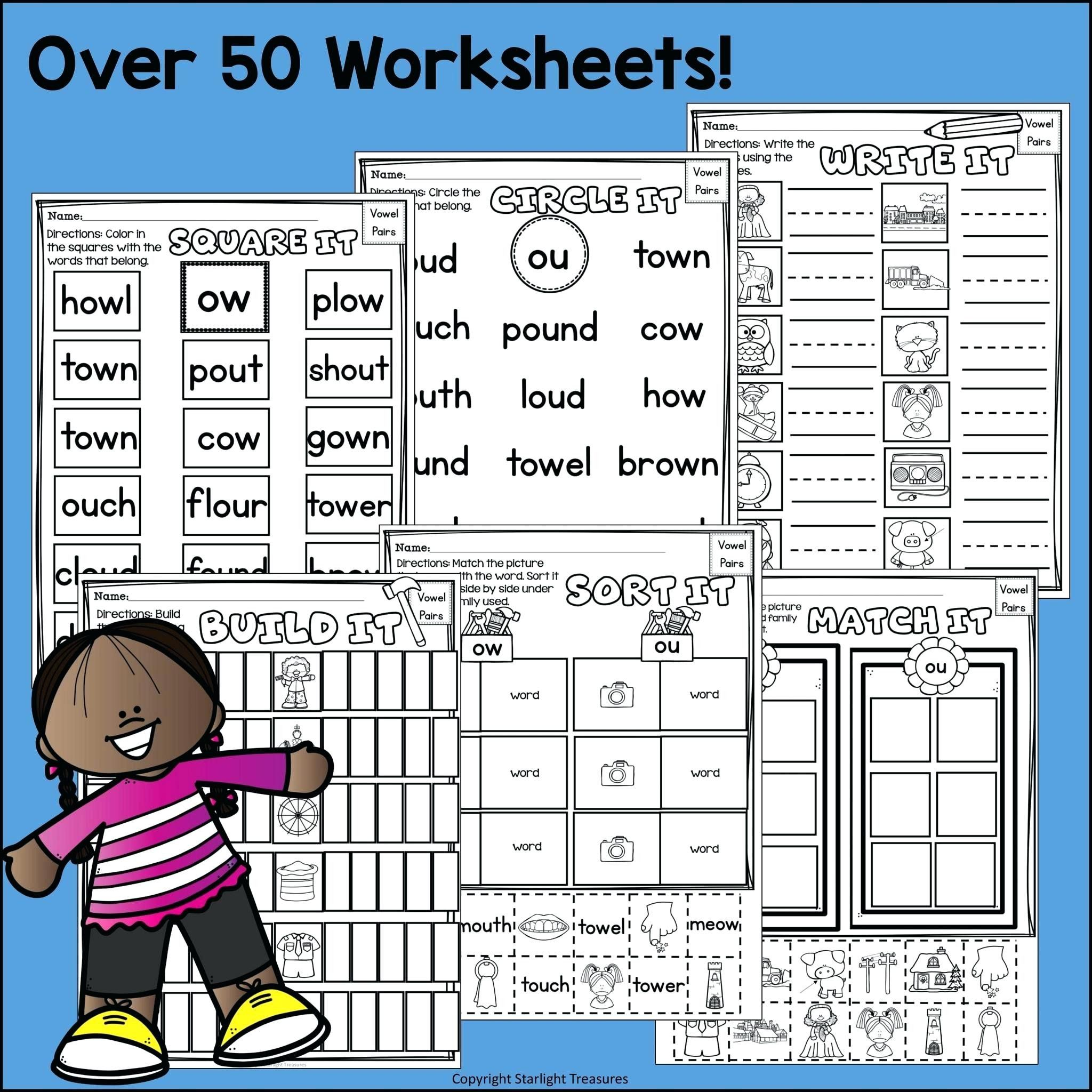 5 Reading Kindergarten Lessons Vowel Pairs Ow Worksheets