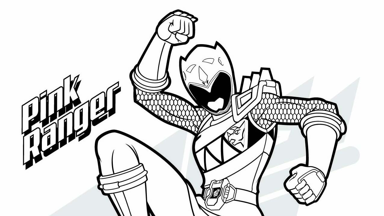 Pink Ranger Coloring Page Power