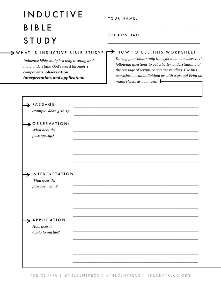 Bible study printable worksheets adults