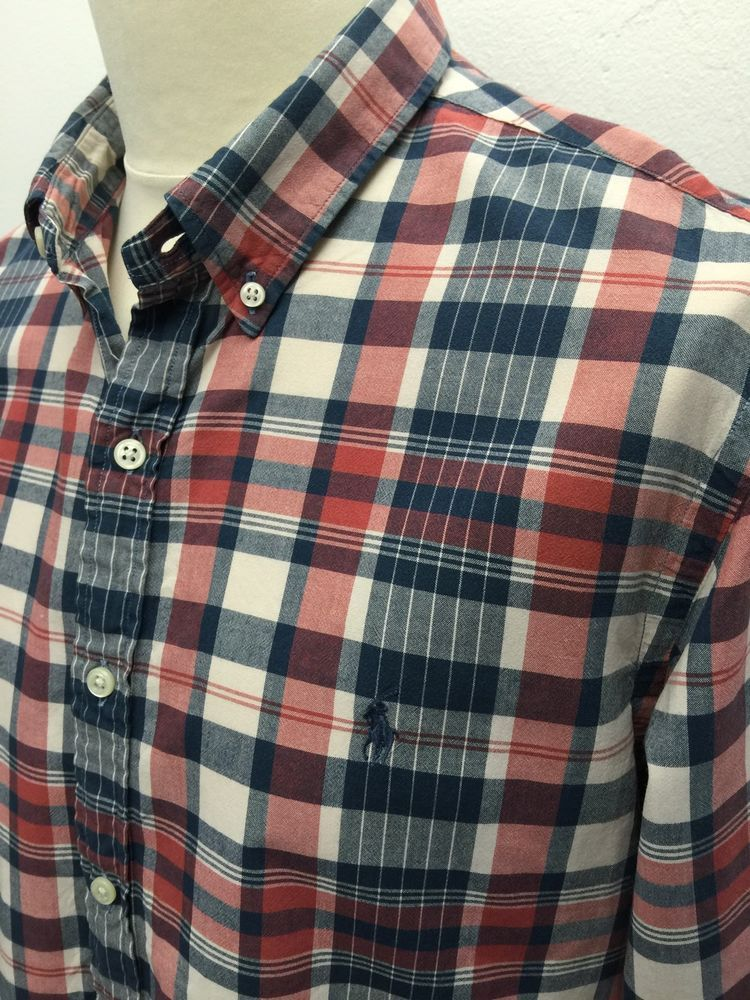 b75cf6f61 Polo  RalphLauren  Mens  Shirt XL Slim Fit Blue Red Cream  Checked Cotton