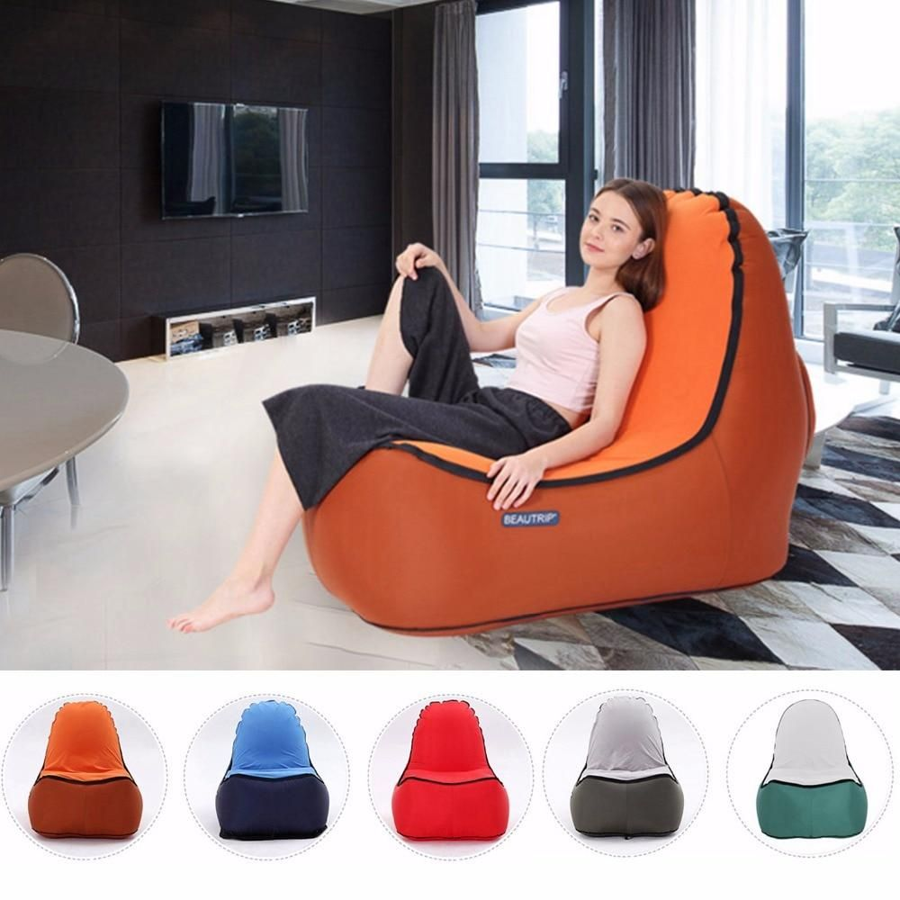 Indoor Outdoor Hangout Inflatable Air Lounge Sofa Chair Living Room Bean Bag Lounger Camping Hiking Fishing Chairs Garden