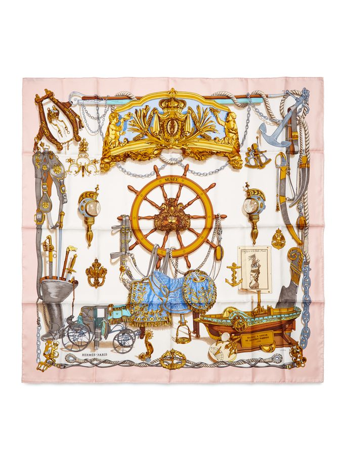 Pink Musee Silk Scarf 90cm from Sail Away: Chic Seaside Accessories on Gilt