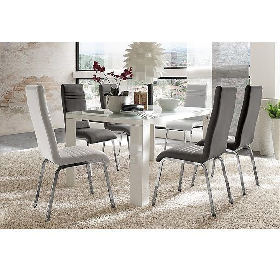 Tizio Glass 120cm Dining Table In White Gloss With 4 Dora Chairs ...
