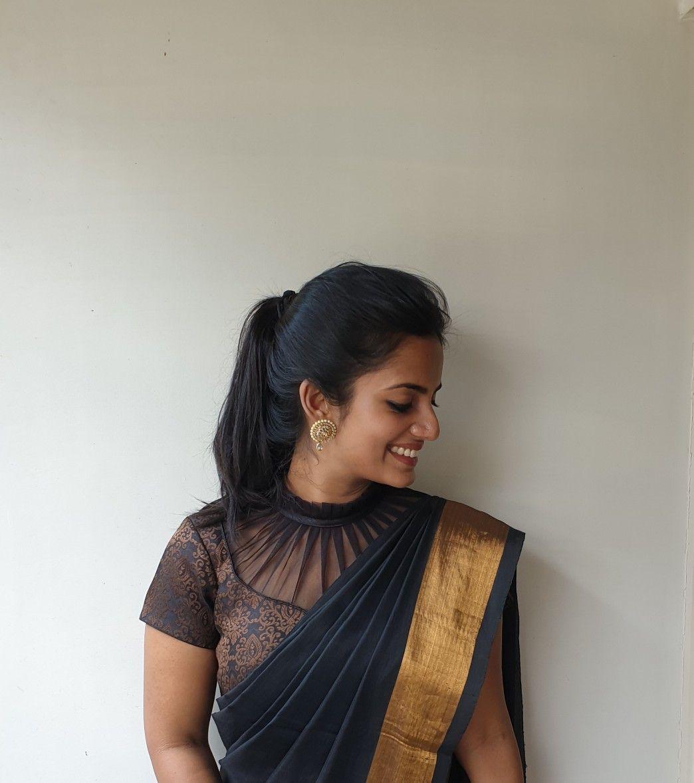 Black net high neck blouse   Trendy