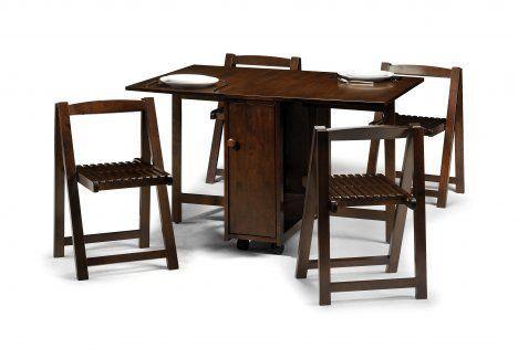Folding/ Drop Leaf Table Mahogany & 4 Fold chairs Crantock