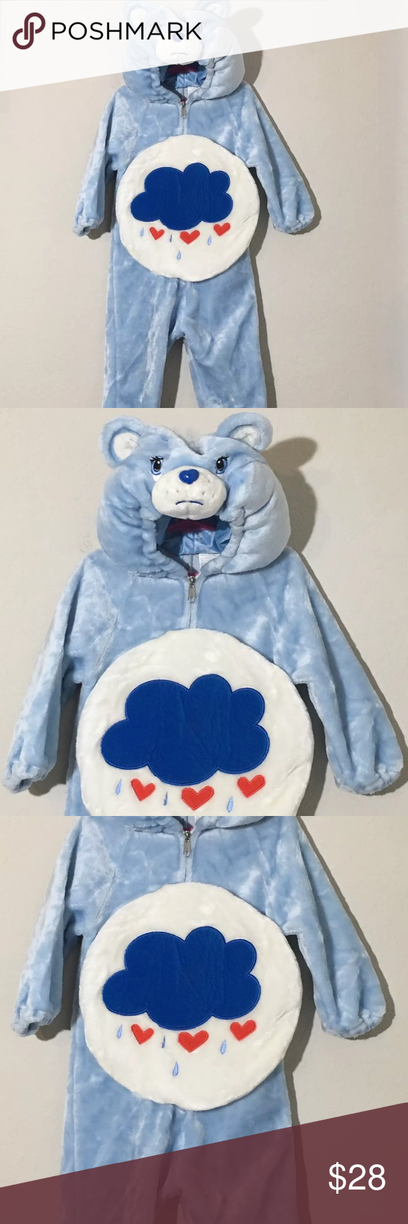 Care Bear Blue Grumpy Bear Halloween Costume 2T-4T Children's Care Bears Grumpy Bear Halloween costume! Full body suit feet and hands will be out bear hood goes over head with child's face showing. Excellent condition no flaws Costumes Halloween #carebearcostume