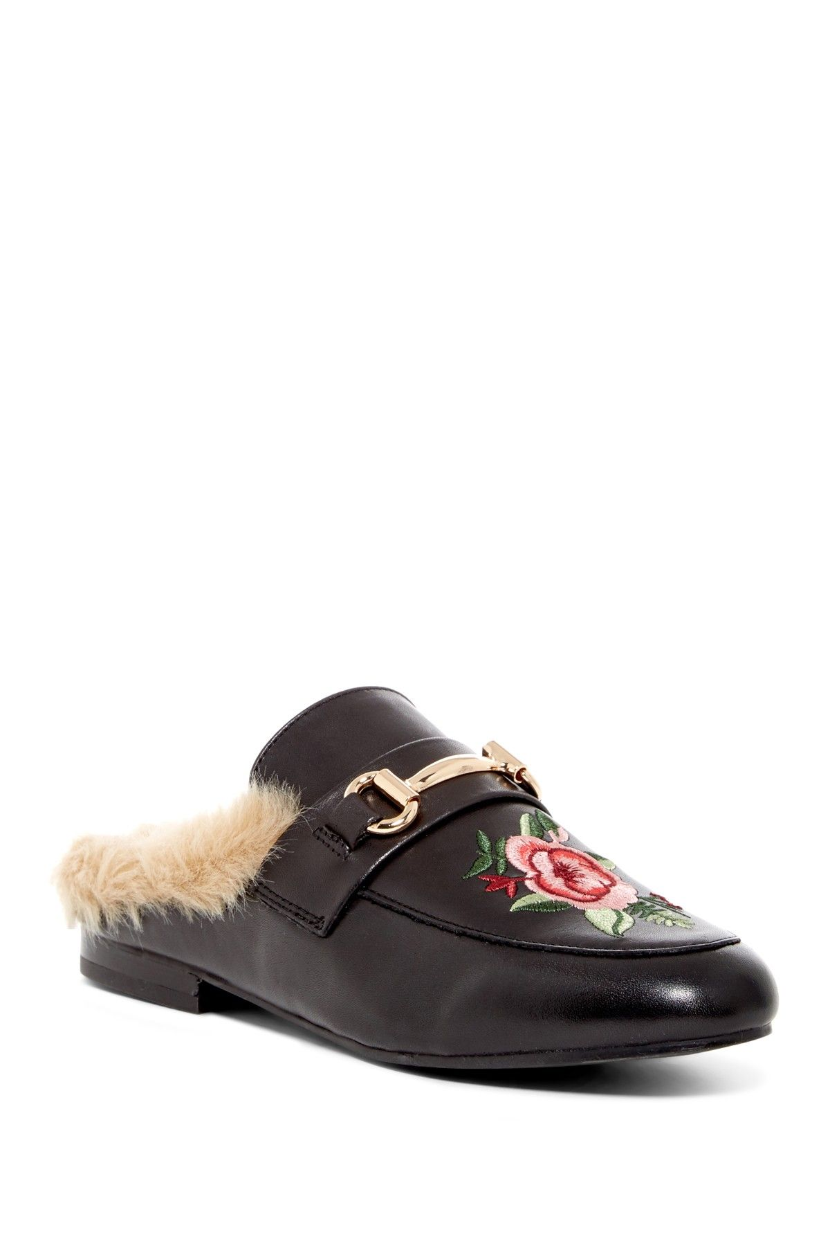 9335579900c Steve Madden | Jill Embroidered Faux Fur Trim Leather Mule ...