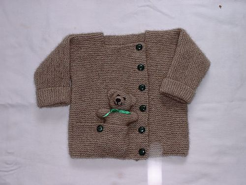 7e194135d Child s Cardigan with Pocket Teddy Bear Knitting Pattern