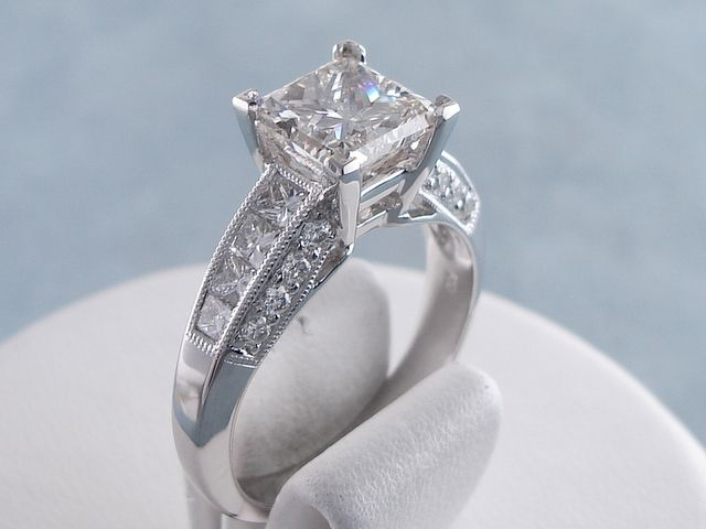 2.73 ctw Princess Cut Diamond Engagement Ring I SI1. For sale for $8,490 on our website www.bigdiamondsusa.com or call us at 1-877-795-1101 for more information.