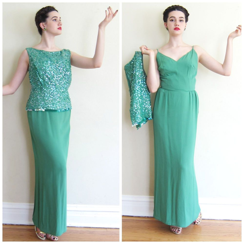 Vintage 1960s 60s Green Silk Crepe Sequins Evening Party Maxi Dress ...