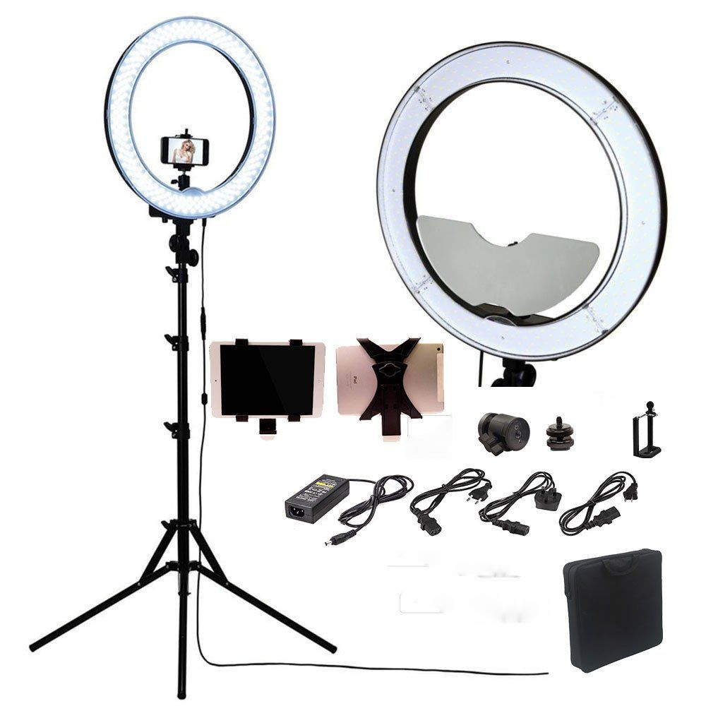 Photography Dimmable Ring Video Light Lamp With Moon Mirrortripod