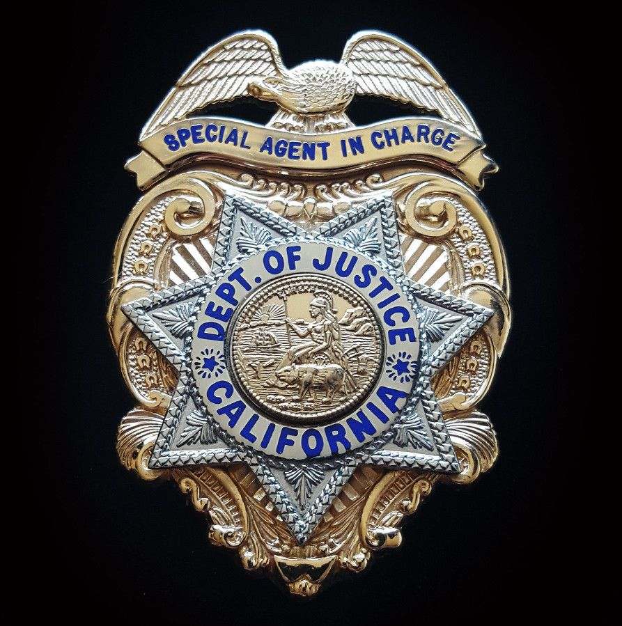 Special Agent In Charge Department Of Justice California Blackinton Police Badge Us Military Medals Fire Badge