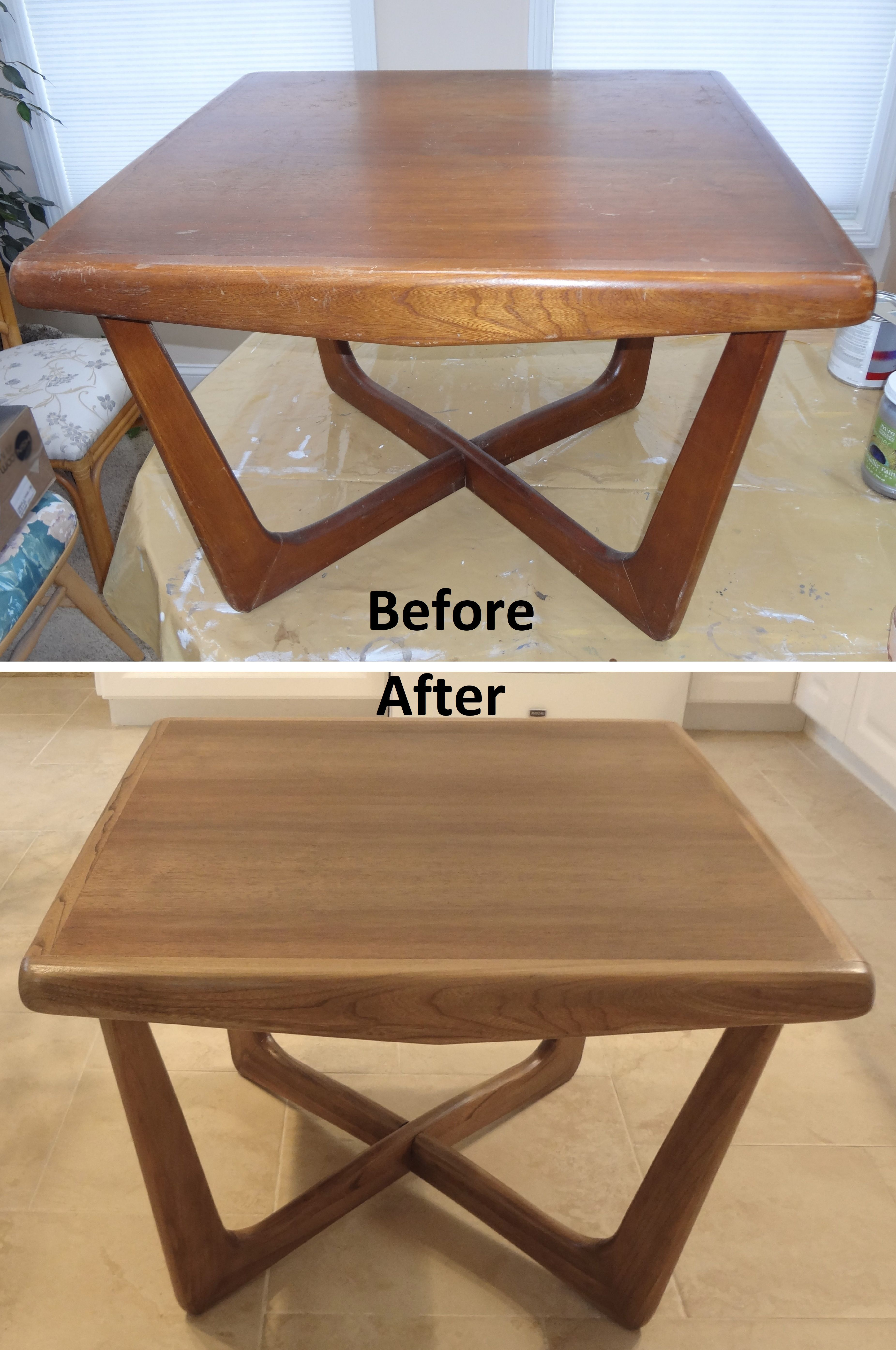 Before And After Refinished Walnut Wood Coffee Tail End Side Table Fnr Forever New Furniture Refinishing Nj