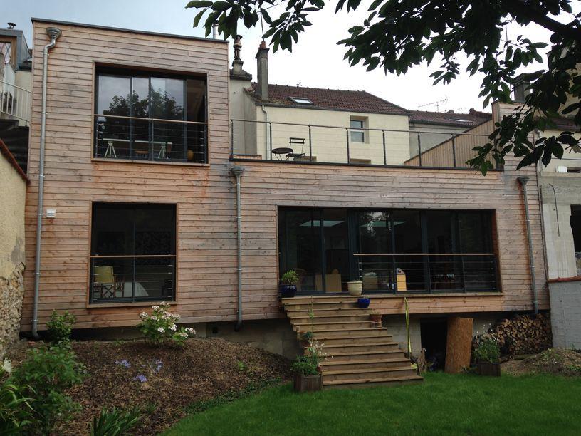 Extension maison en bois à Lagny Sur Marne, bardage douglas