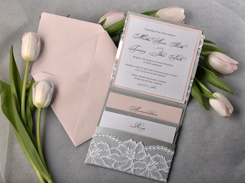 tulip wedding invitation templates%0A Peach and Silver Lace Wedding Invitation Pocket by DecorisWedding