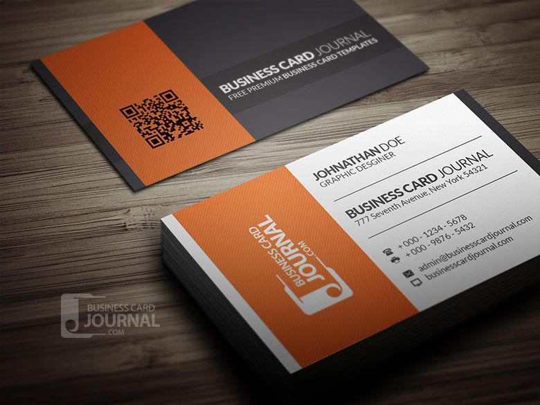 Clean Style Blackwhiteorange Business Card Template Free Download