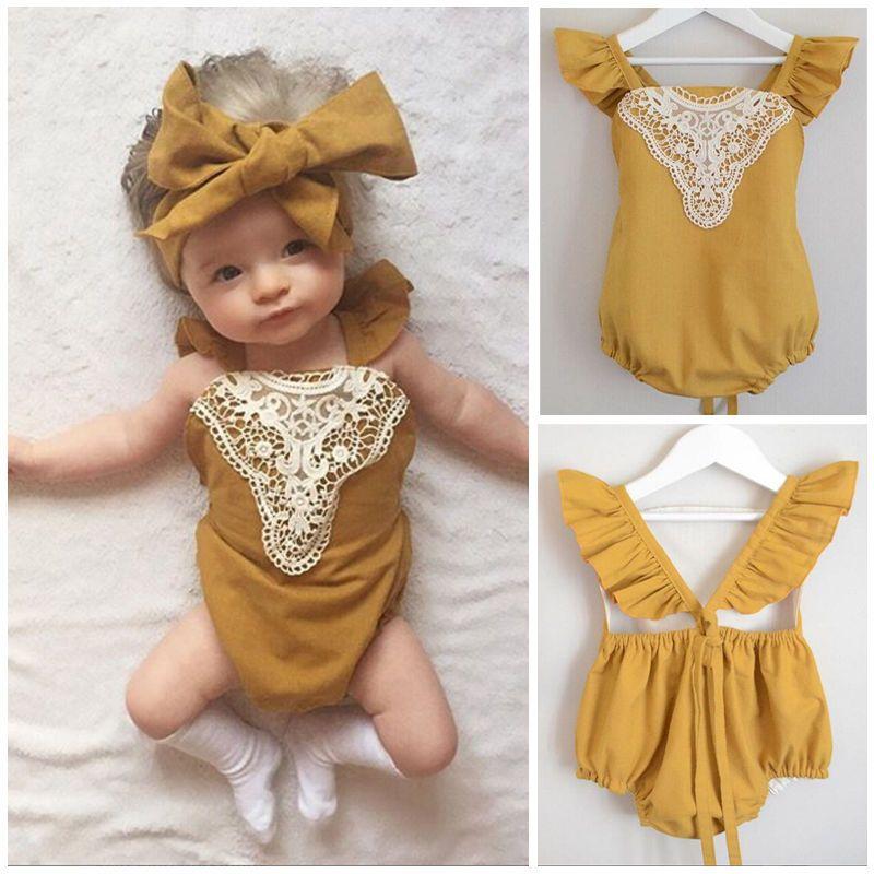 d9c3d9db0 Toddler Infant Baby Girl Romper Bodysuit Jumpsuit Lace Sunsuit Outfits  Clothes   eBay
