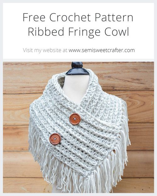 Ribbed Fringe Cowl | All things crochet for adults | Pinterest ...