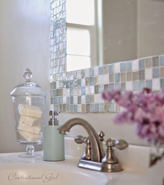 Diy espejo de mosaico para el cuarto de ba o lovely home - Espejos para cuarto de bano ...