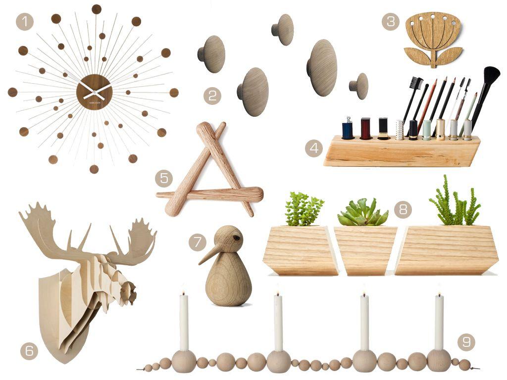 Interior gift guide for christmas / / 1 / Wall clock - Karlsson € 65,90 / 2 / The Dots Oak - Muuto € 99,50 / 3 / Blowball Broche - Snug Design € 14,90 / 4 / Make up/brush holder - Less & More € 104,96 / 5 / Timber Trivet - Adam Goodrum € 26 / 6 / Moose Trophy - Big-Game / 7 / Bird - Artchitect Made € 39 / 8 / Boxcar Planters - Revolution Design House € 41,24 / 9 / String Candle Holder - Ferm Living € 50