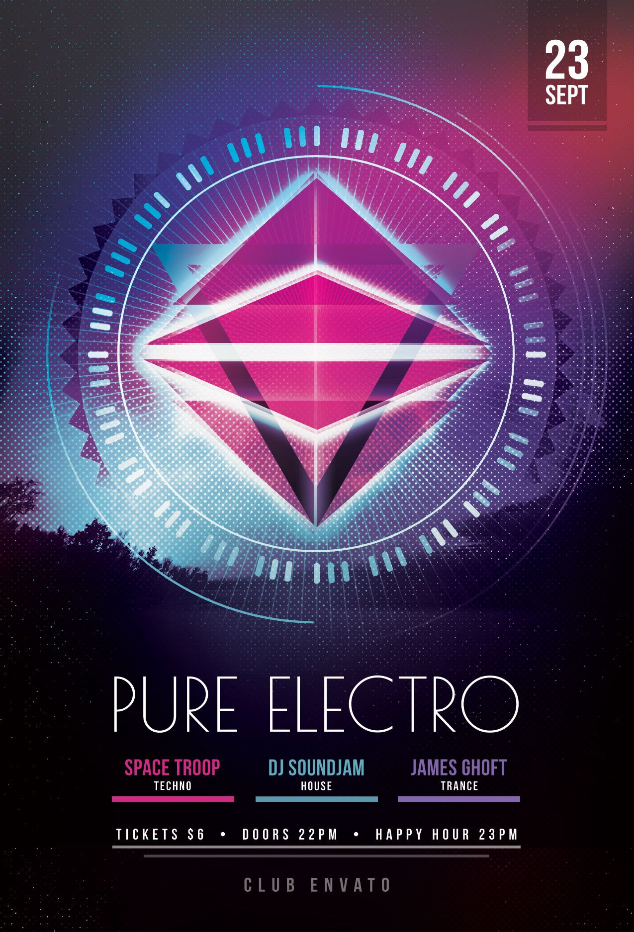 Pure Electro Flyer Template Download Psd File    Party Poster