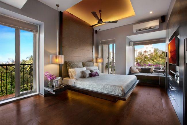 modernes schlafzimmer mit abgehngte decke licht und ventilator - Modernes Schlafzimmer