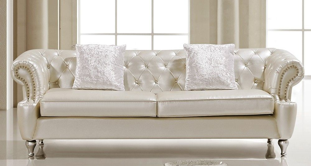 Tufted White Leather Sofa | Ludovik Crystal Tufted Leather Sofa