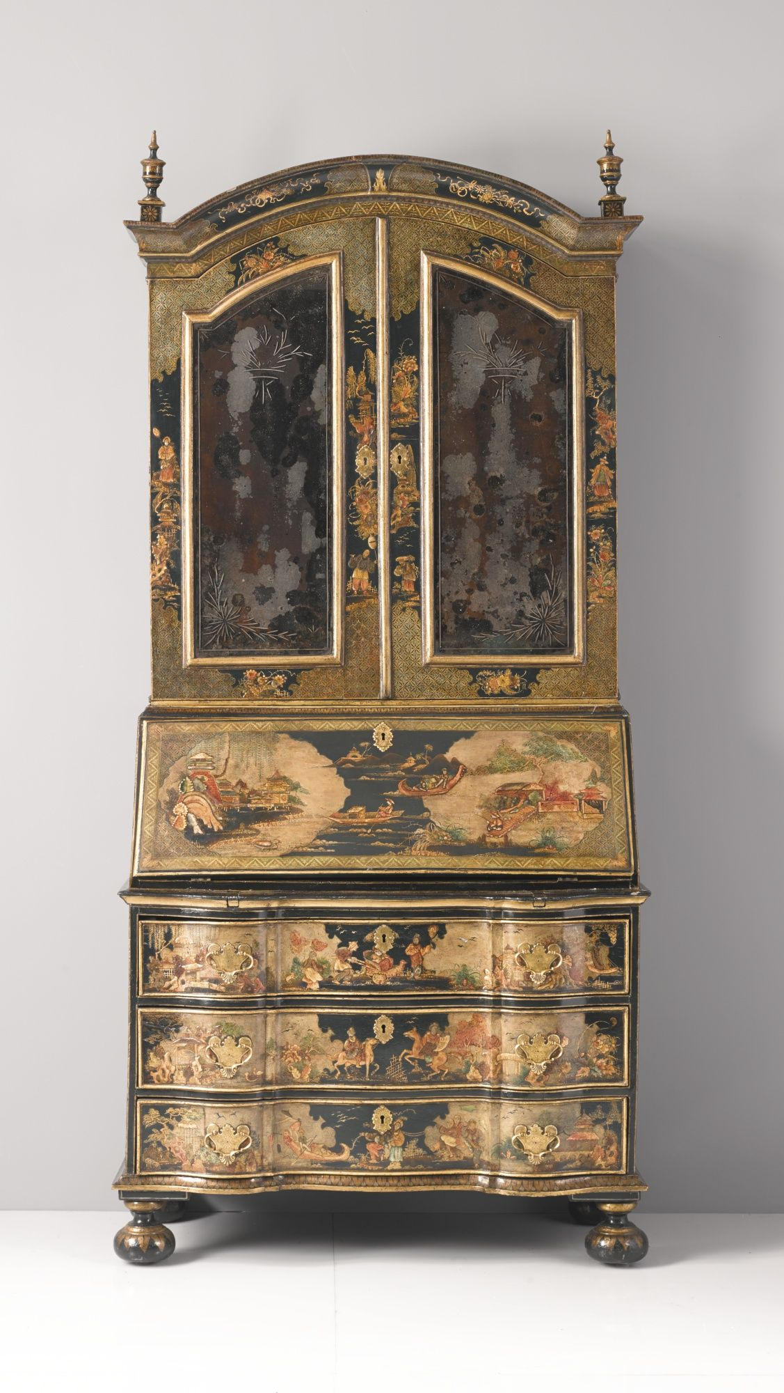 A German Baroque Parcel Gilt And Polychrome Japanned Bureau