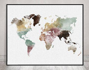 World map print watercolor travel map large world map world map world map print watercolor travel map large world map world map watercolor pastel fine art prints home decor artprintsvicky gumiabroncs Gallery