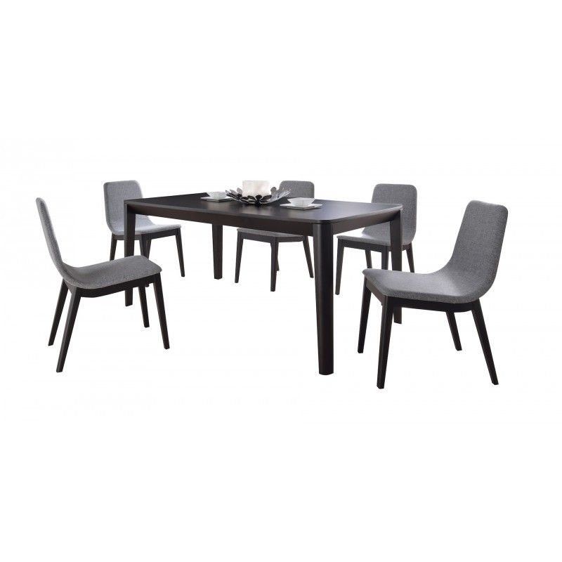 Lot de 2 chaises contemporaines ENZO en tissu (gris clair
