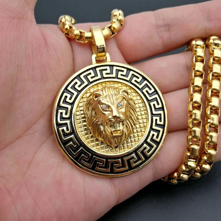 Hip Hop Lion Head Jewelry Necklace For Men  Stainless Steel