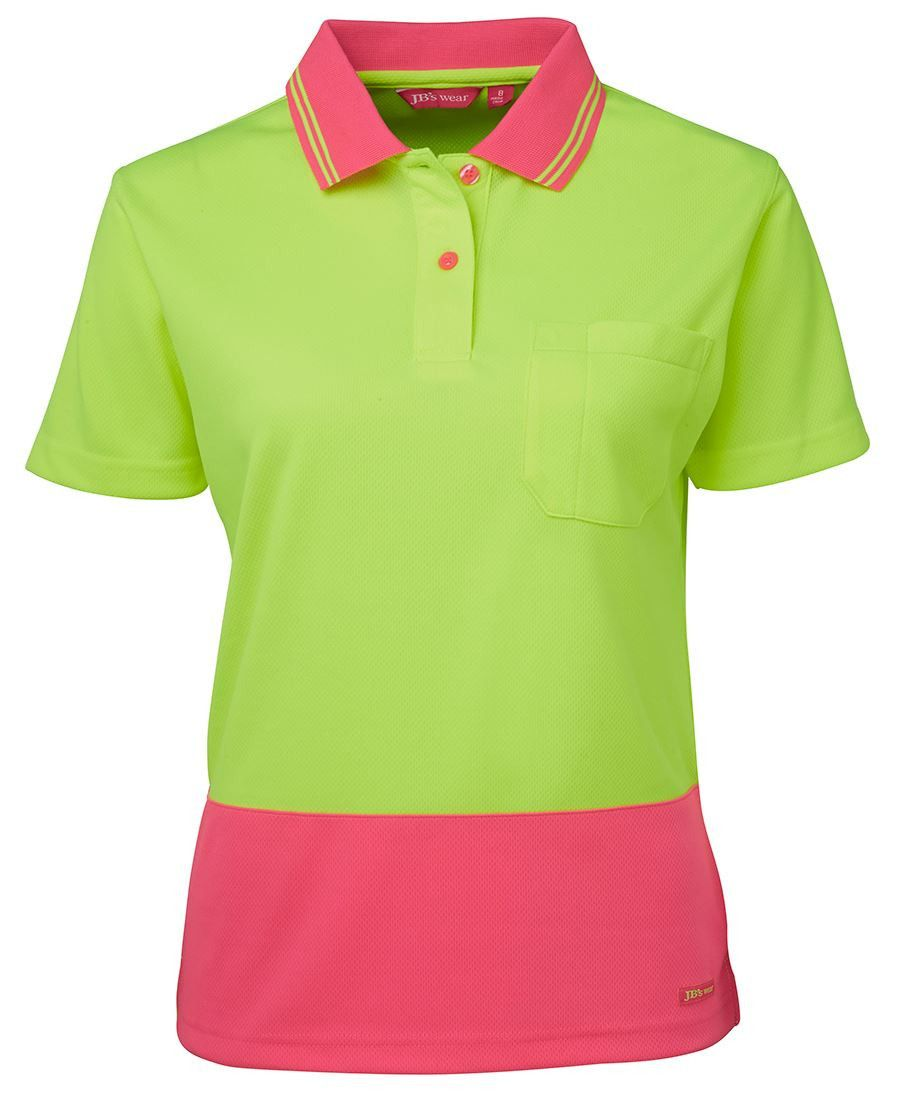Code: 6LHCP Name: LADIES HI VIS S/S COMFORT POLO 6LHCP Size: 8 | 10 | 12 | 14 | 16 | 18 | 20 | 22 | 24 | 26 Available Colours: Lime/Pink | Lime/Navy | LIme/Purp