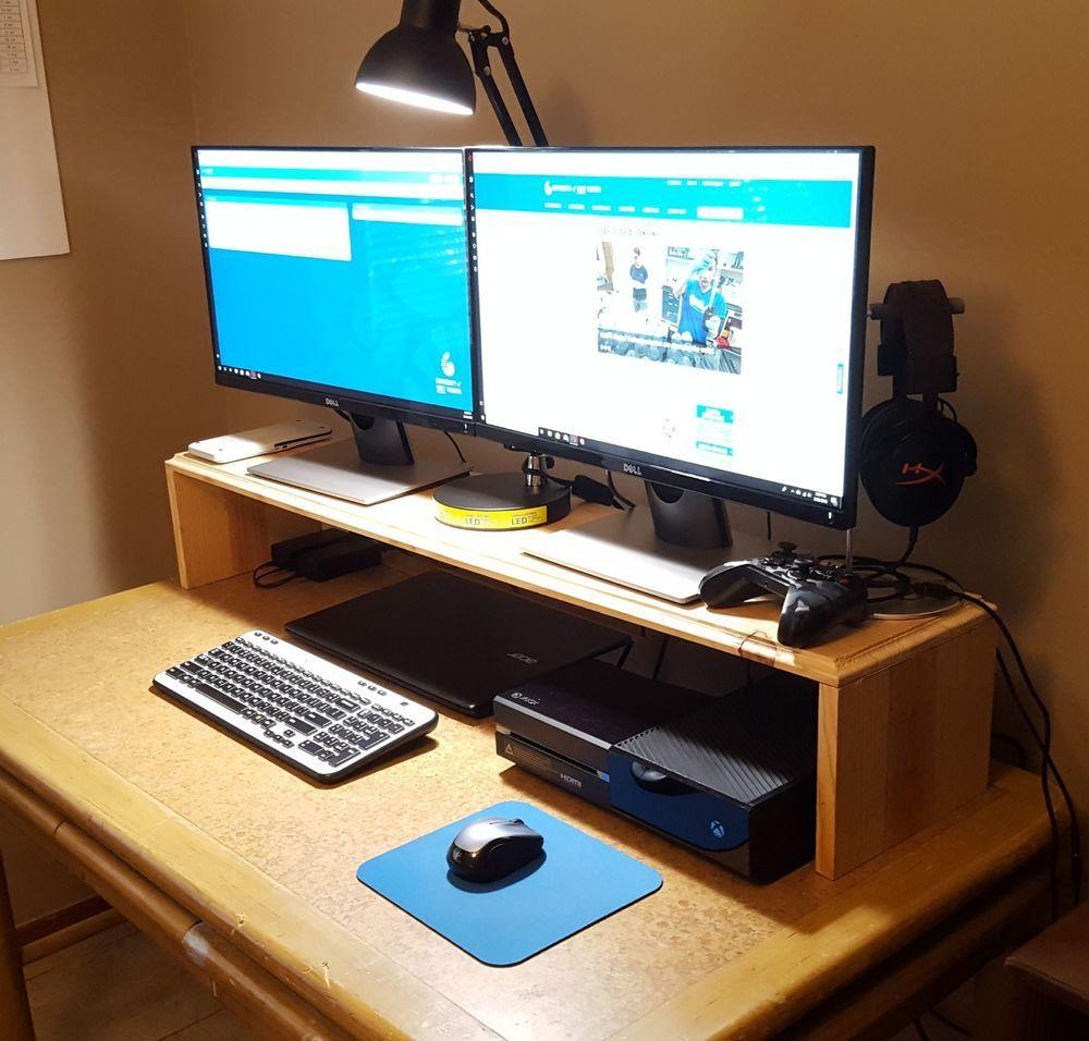 Computer Desktop Laptop Shelf Monitor Stand Dorm Room Wood Storage Organizer Cottagexpressions Spacesaver Computer Shelf Desktop Shelf Desktop Stand