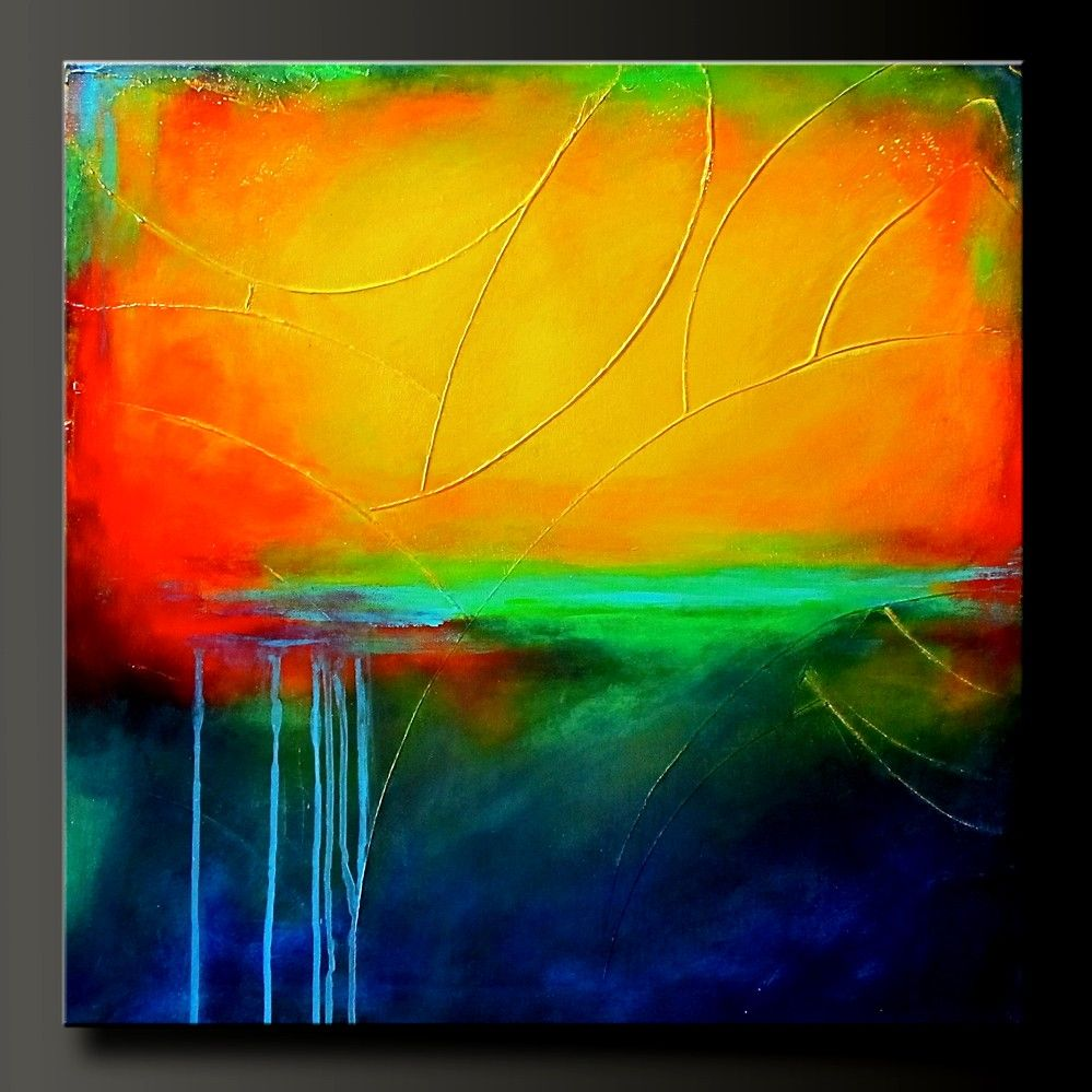 Primary Colors - 24 x 24 - Original Modern Acrylic Abstract Painting ...