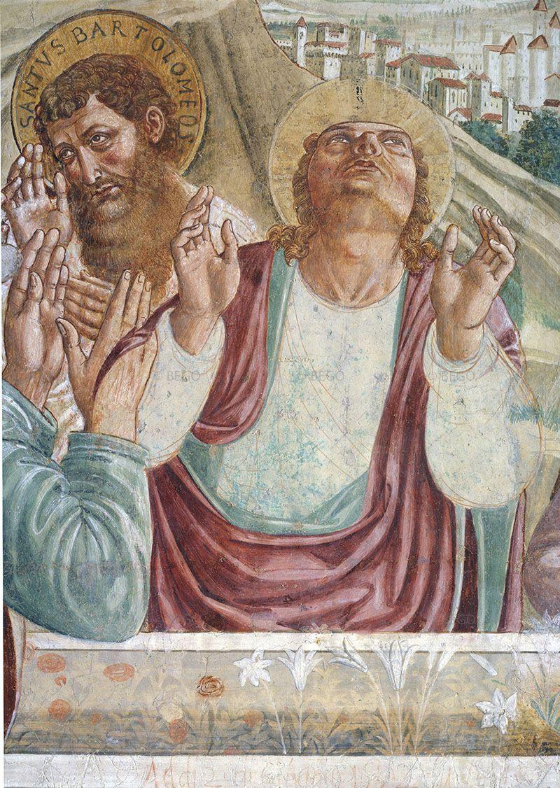 Benozzo Gozzoli - Dettaglio del tabernacolo della Madonna della Tosse con i disegni preparatori in vista - 1484 - affreschi staccati - BEGO-Museo Benozzo Gozzoli - Castelfiorentino