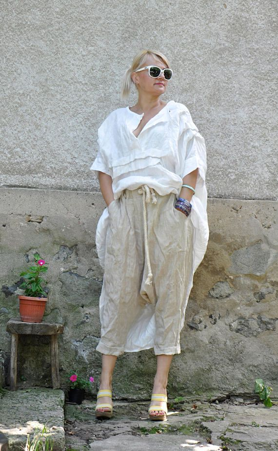 5b4192edc36 Linen Set Top and pants White loose tunic and Beige harem