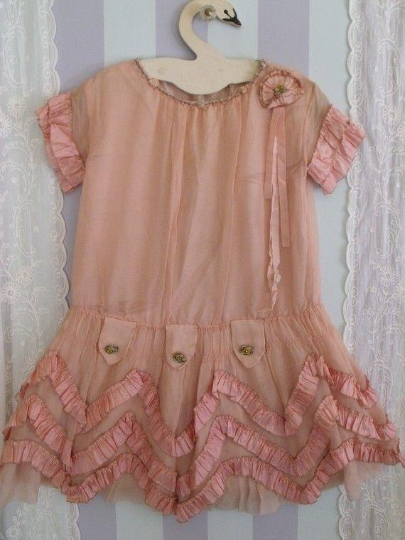 Little Girl's Vintage 1920's Silk Crepe Dress, Ribbon ...