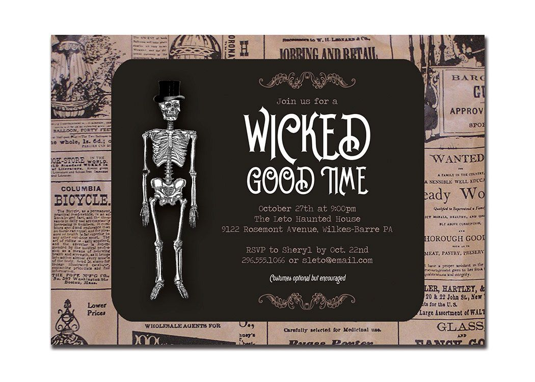 Vintage Halloween Invitation Adult Party Invitation Retro Skeleton ...