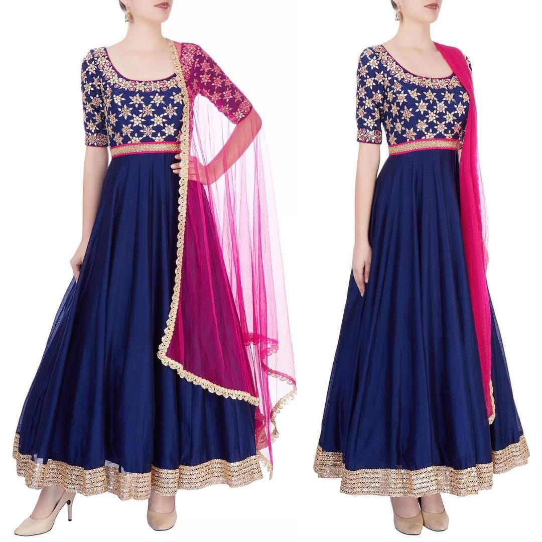 Stunning blue color floor length anarkali dress with pink net ...