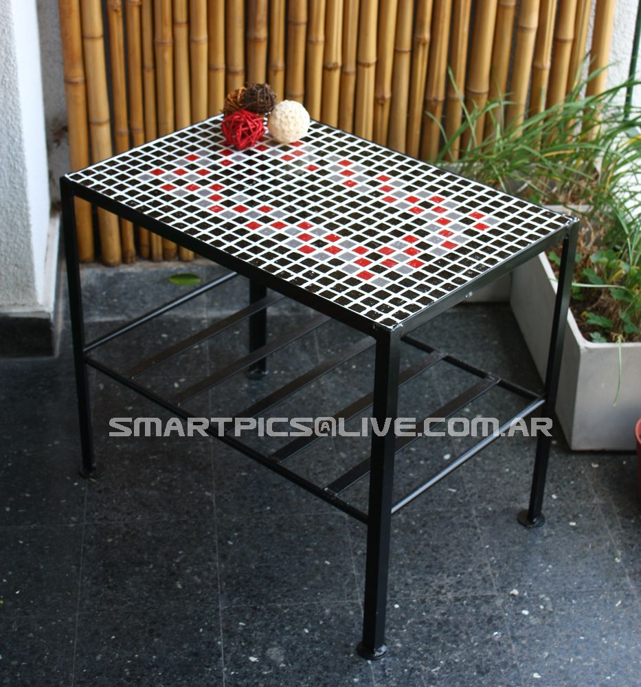 Mesa rectangular 60 cm de largo 40 cm de ancho 50 cm de - Mesas de hierro para jardin ...